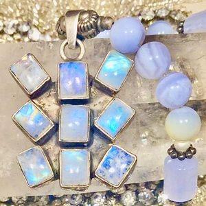 Antique Rainbow Moonstone Necklace, circa 1920's
